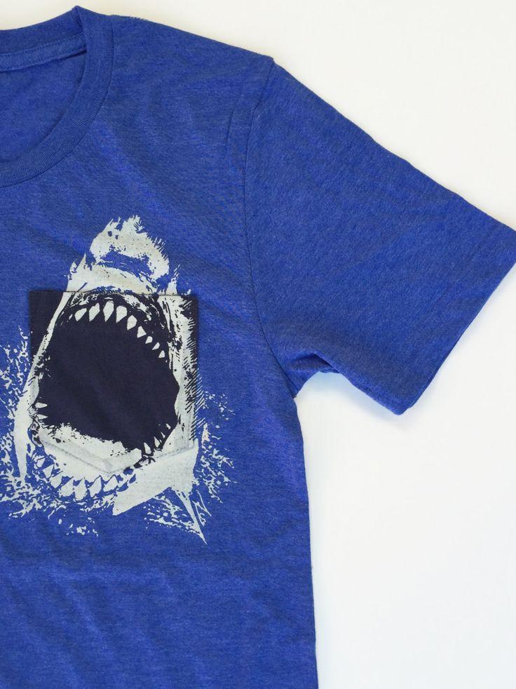 Mens Pocket SHARK T Shirt S M L XL XXL