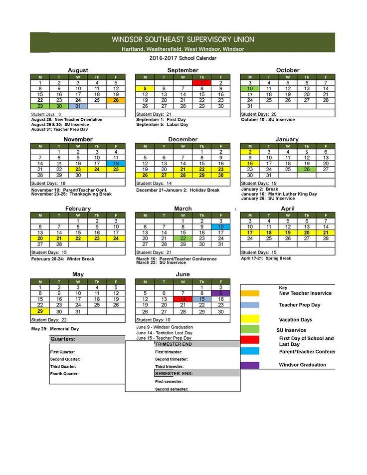 2016-17 School Calendar #EarlyChildhood