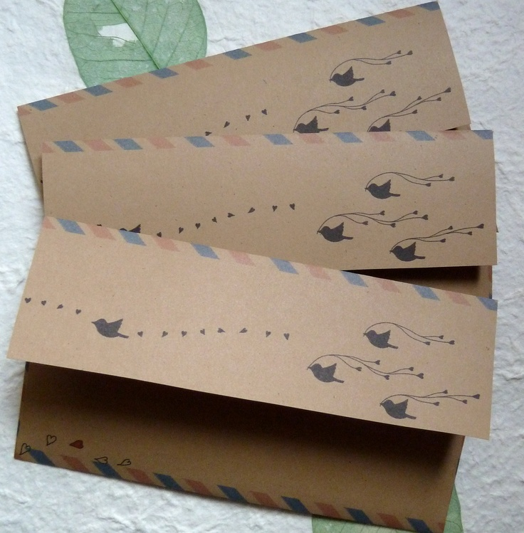 """10 AirMail envelopes """"Black Bird"""", by PuchiMo  $3.50  ( #stationary #cute )"""