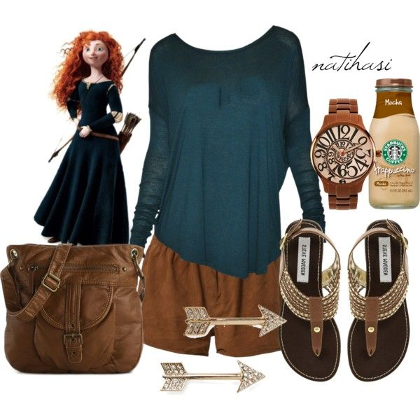 """Disney Theme Park Summer Outfit: Merida"" by natihasi on Polyvore - love the watch, earrings and bracelet."