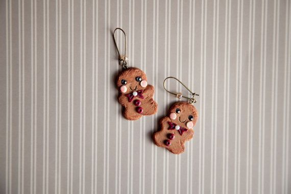 Cute Gingerbread Men Earrings / xmas christmas gift by Ilianne