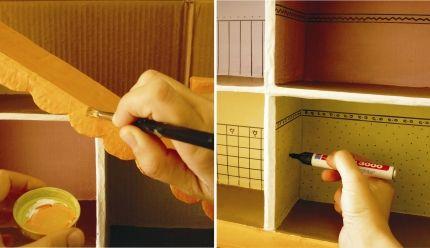 Casita de muñecas con cajas de zapatos / Dollhouse with shoe boxes