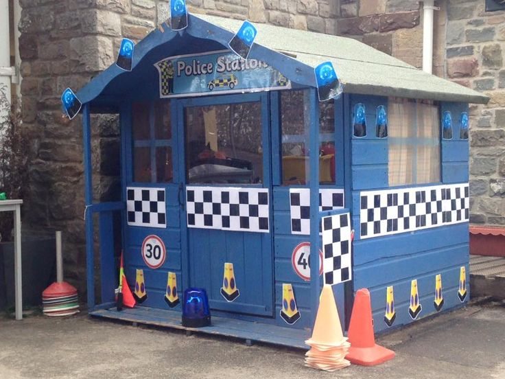 A wonderful idea for a role play area! The perfect place for children to have a real game of cops and robbers.