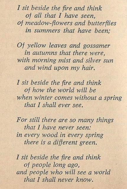 Bilbo's poem from the end of The Hobbit.