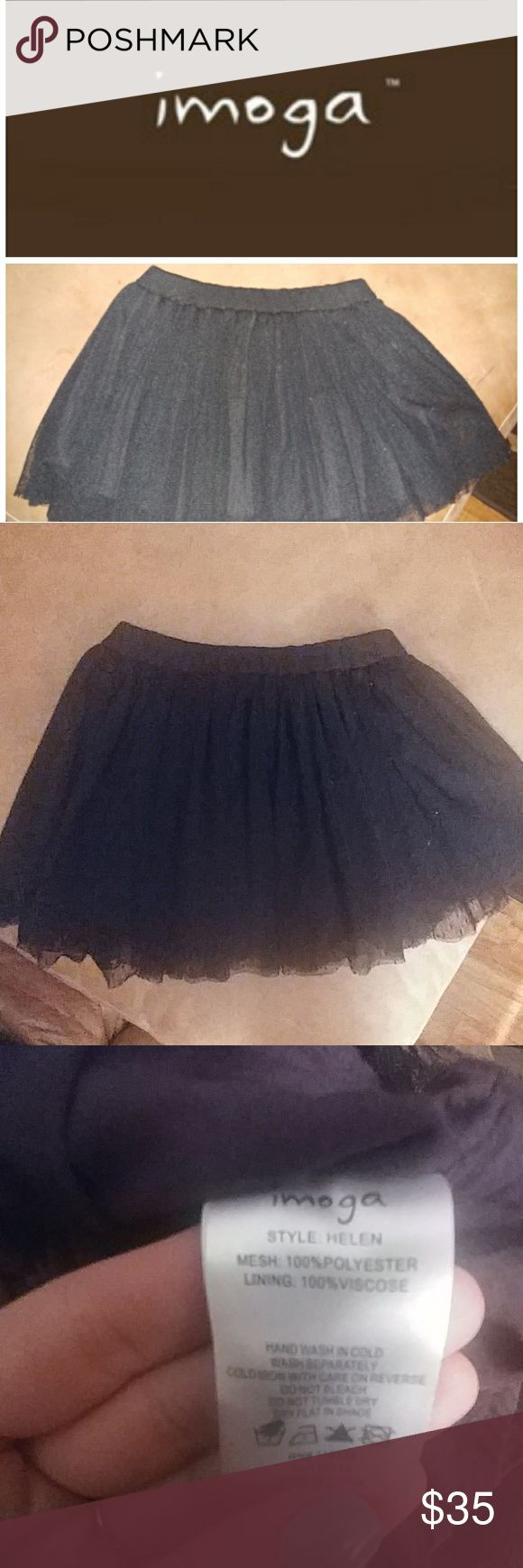 Imoga helen skirt Gorgeous black skater skirt. Worn several times, it looks gorgeous with a gold leotard and Chuck's! Imoga Bottoms Skirts