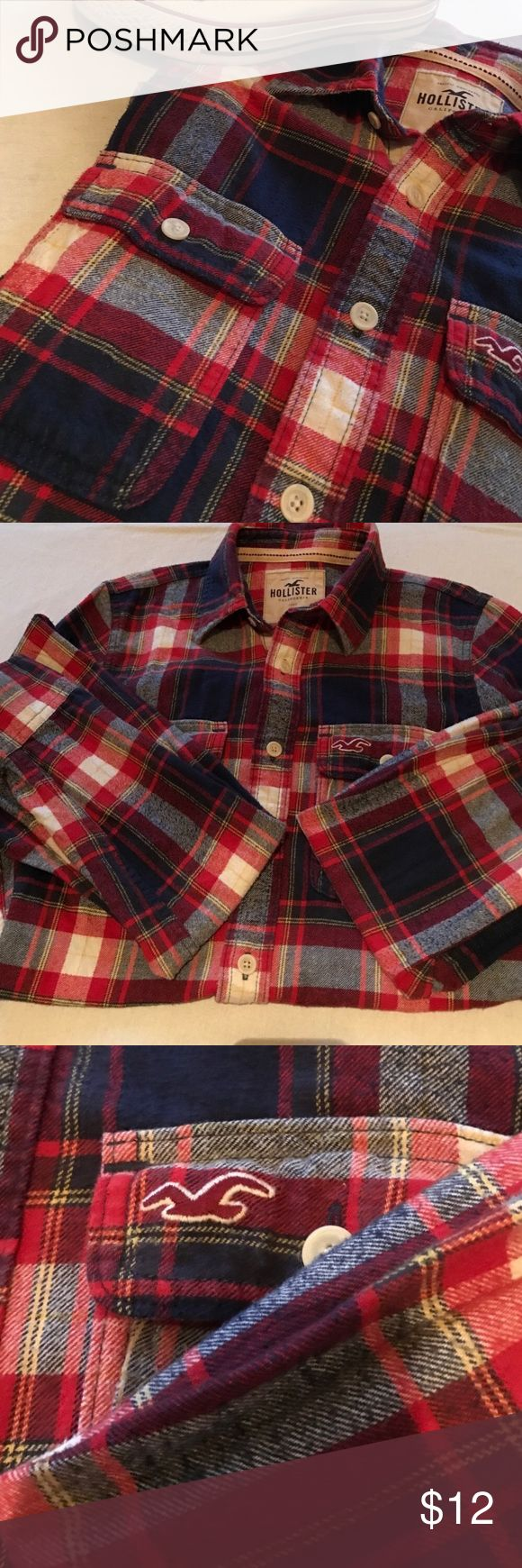 Hollister button down blue and red plaid shirt Excellent condition! No signs of wear. This shirt will look great with a pair of converse! 🌞☀️ Hollister Tops Button Down Shirts