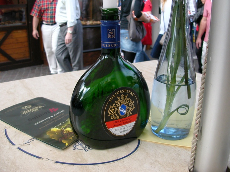 The distinctive Frankenwein bottle, Wuerzburg, Germany (Joe Cruz photo).