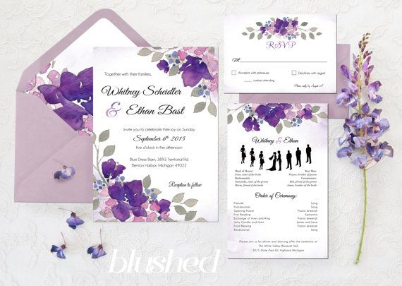 Purple Wedding Invitations Printable Wedding by BlushedDesign