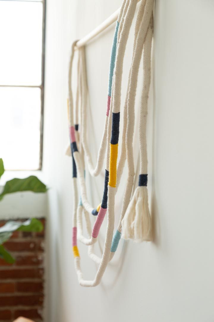 Diy Wrapped Rope Wall Hanging Wool Wall Hanging Diy Wrap Rope Wrapped