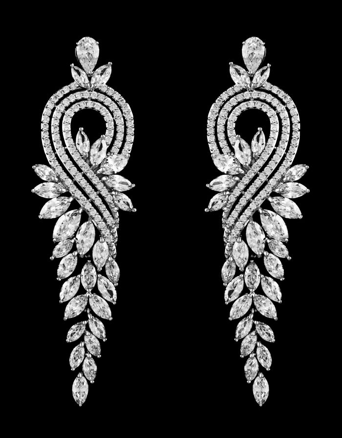 Glamorous Cubic Zirconia Drop Wedding and Pageant Earrings - Affordable Elegance Bridal -