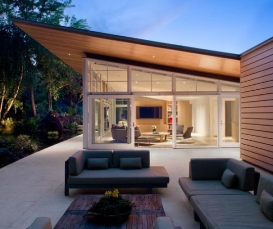 Modern Cabin. Outdoor seating area.