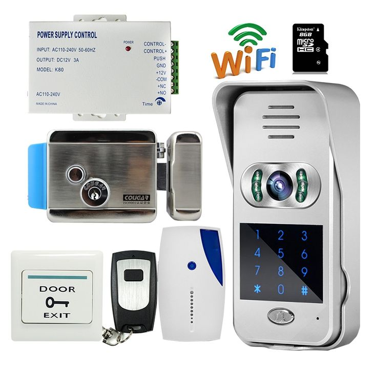 158.38$  Watch here - http://alie72.worldwells.pw/go.php?t=32691596153 - Free Shipping Wireless Wifi Code Keypad Doorbell 720P Video Intercom Remote Phone View / Unlock + Electric lock + Indoor Bell