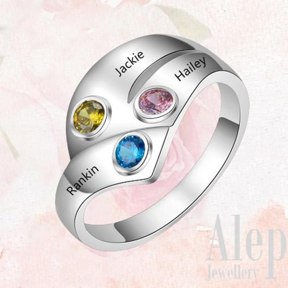 Gift for Mom Custom Birthstone Ring Personalized Gift for Her 925 Silver Jewelry Sterling Silver Birthstone Band Christmas Gift