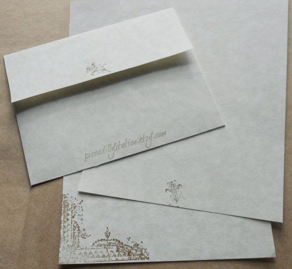 This beautiful hand stamped, hand cut 24 lb ivory colored parchment - colored writing paper