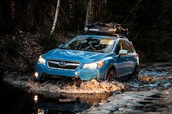 Brand: Subaru Model: CrosstrekYear: 2016Color: Hyper Blue Modifications: Lift kit: LP Aventure Tires: 215/75R15 BFGoodrich All Terrain T/A KO2Wheels: Method Racing Wheels MR502 VTSpec 15x7 +15Cargo basket: Yakima LoadwarriorBike rack: Thule Sidearm Accessories: Yakima Axe / Shovel bracket Before the lift kit: With the lift kit: