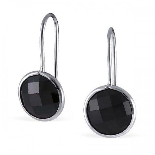 Zilveren Oorbellen met zwarte Zirkonia