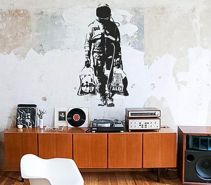 Inspirational BANKSY ASTRONAUT SHOPPING XXL Streetart Wandtattoo von Urban ART Berlin wall decal VinylART wall sticker auf DaWanda Pinterest Banksy
