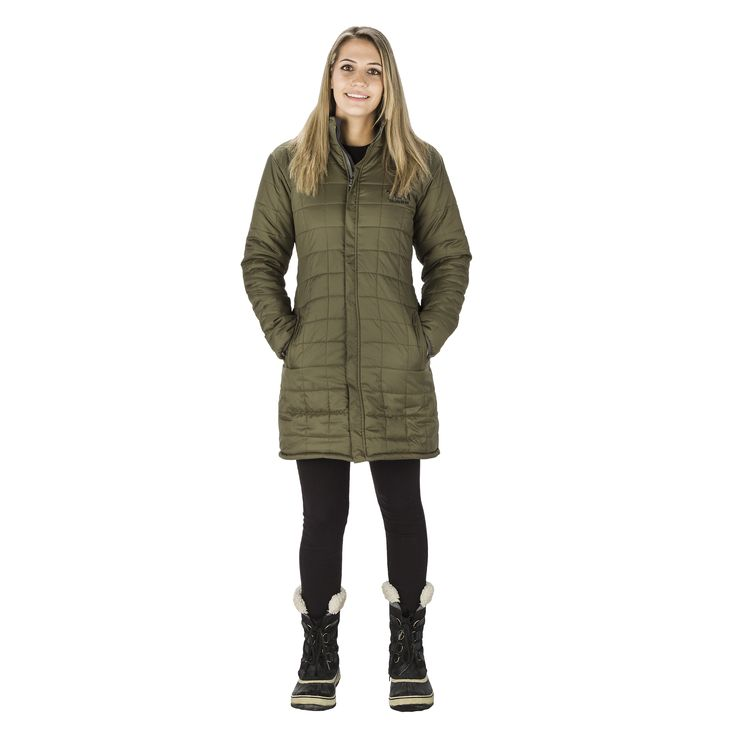 Womens EVEREST reversible parka -  Army Green / Black