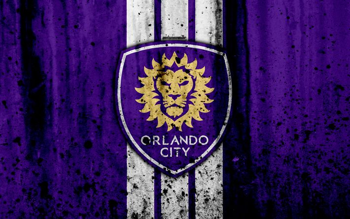 Download wallpapers 4k, FC Orlando City, grunge, MLS, art, Eastern Conference, football club, USA, Orlando City, soccer, stone texture, logo, Orlando City FC