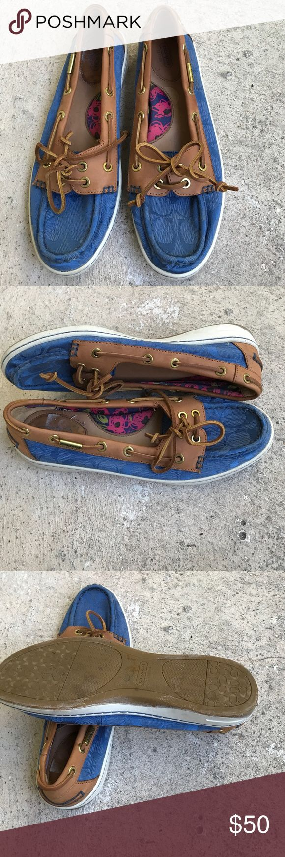 Coach doc siders These blue in leather Boatshoes are practically new, i used white shoe polish on the edging and a little bit got on the sole of that will come off with wear. Coach Shoes Flats & Loafers