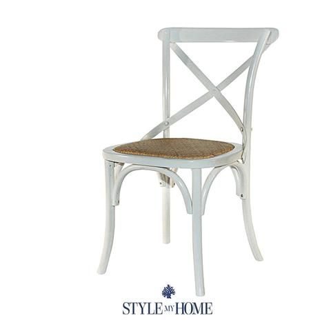 DAVID Cross-back Chair with Rattan Seat Style My Home Hamtpons Country Coastal Contemporary
