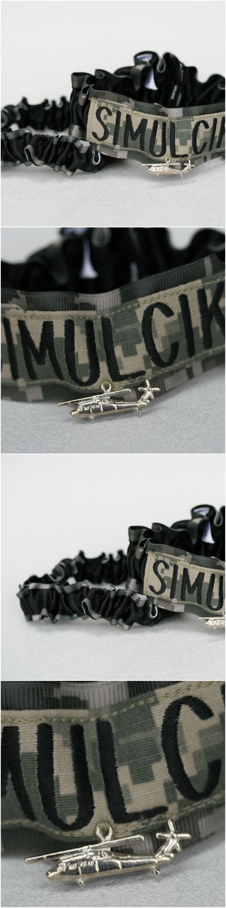 Custom Camouflage and Military Name Tape Wedding Garter Set-by The Garter Girl