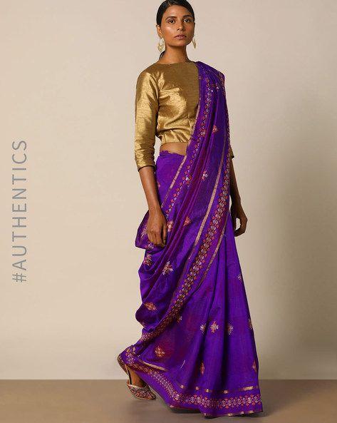 Buy Indie Picks Women Purple Kasuti Embroidered South Silk Saree | AJIO