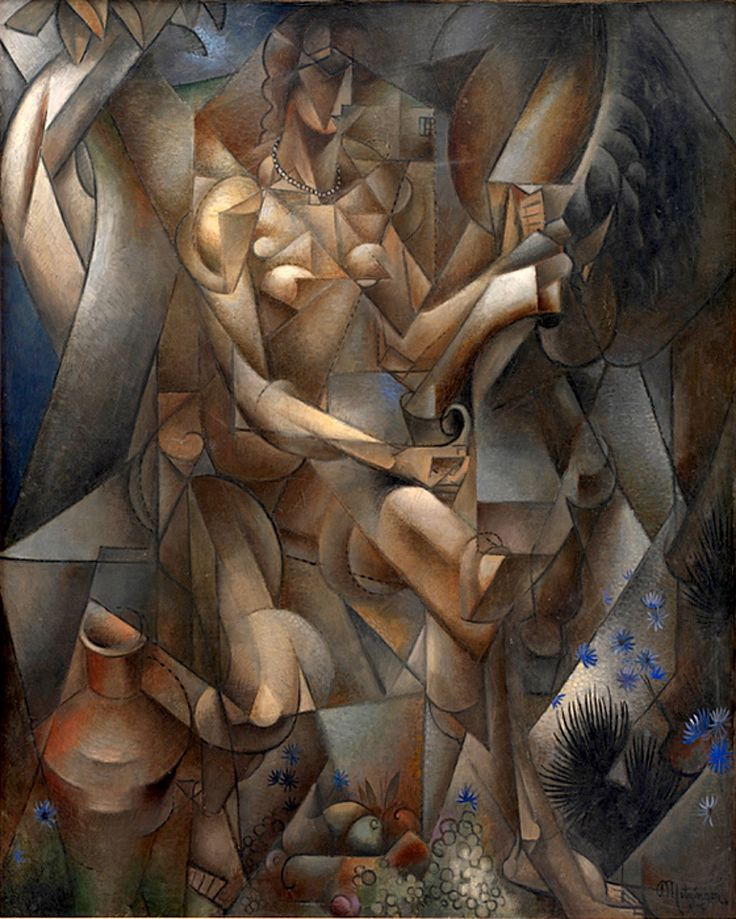 Jean Metzinger  La Femme au Cheval - 1911 - 1912  Cubism - Figures/objects are scrambled and reassembled in the painting - In this painting, a women and a horse are scrambled into parts