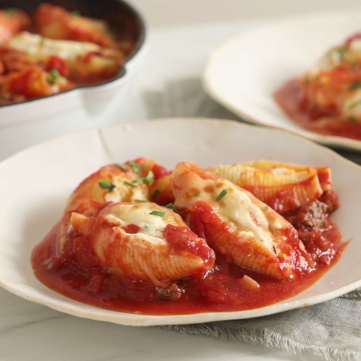 Recipe of the Day: Stuffed Shells Bolognese Steaming, cheesy stuffed shells swimming in red sauce offer nothing but comfort, and they're just what you need after a long day. Thanks to this quick recipe, your dreams can be a reality. Stuff the shells with ricotta and roasted bell peppers, then enjoy all the rich and creamy flavor you can handle.