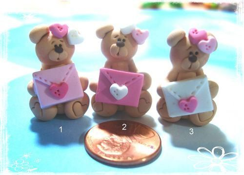 Lettera d'amore wt orso Polymer Clay fascino di RainbowDayHappy