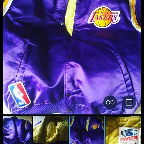LAKER JACKET WORN ONLY ONCE $75 make offer Size Adult Large LIKE NEW official Starter Nylon jacket - Purple and Gold - Go Lakers! Starter Jackets & Coats Puffers