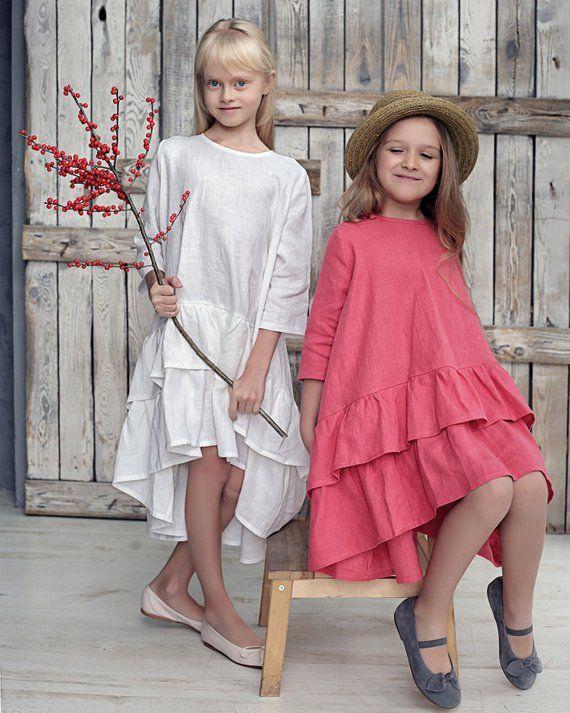 Meninas de linho vestem com babados, vestido de festa para meninas, vestido de ocasião para meninas, vestidos de festa para meninas, vestido de babados para meninas, roupas de vestir para meninas   – Girls dresses, girls party dresses