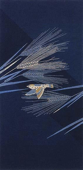 Yuzen Obi by National Living Treasure of Japan, Mitsugi YAMADA (1912~2002) : Indigo dye.