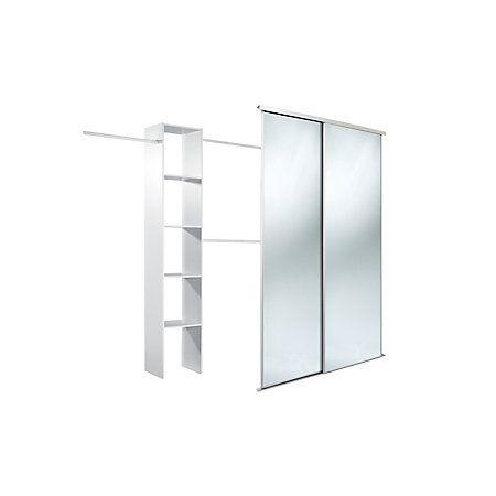 Traditional Full Length Mirror White Sliding Wardrobe Door Kit Mm
