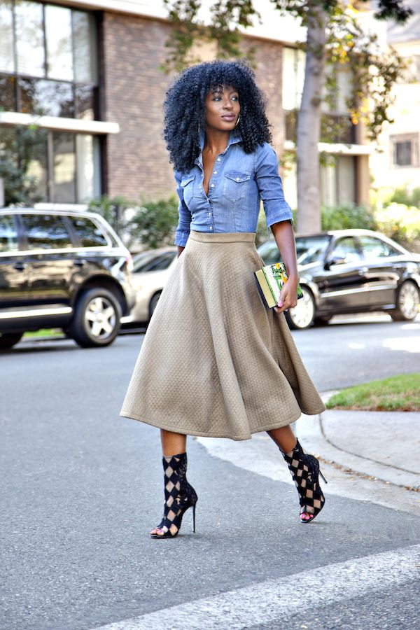 Fitted Denim Shirt + Quilted Midi Skirt
