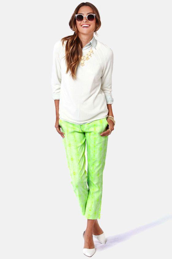 Hot Neon Green Snake Print Pants