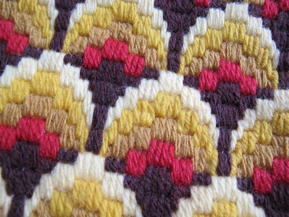 Beautifully made Bargello needlepoint throw pillow cover. Vintage new in shades of pale yellow, to gold, brown and red. Pillow back is a soft pale yellow corduroy. Cover is 16 by 15 inches. Excellent condition.  All of my vintage items are sold in as is condition. Most of them are used