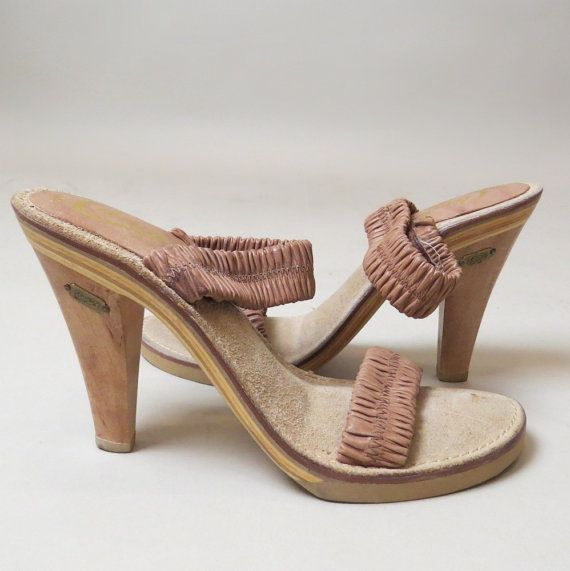 vintage 70s strappy sandal Candies high heels / wood / leather / beige tan  / size 8 - 58 Best Images About Accessories On Pinterest