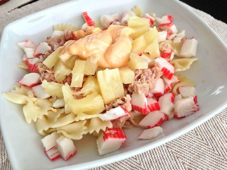 Receta de Ensalada tropical de pasta. ideal para la playa