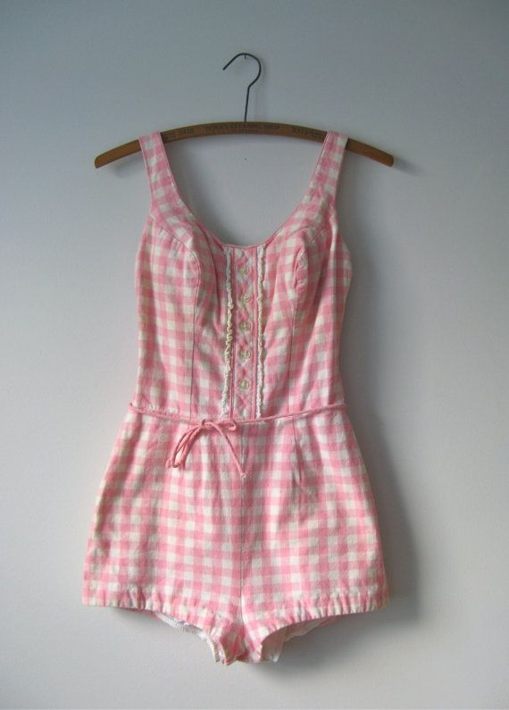 vintage 1950s pink gingham swimsuit