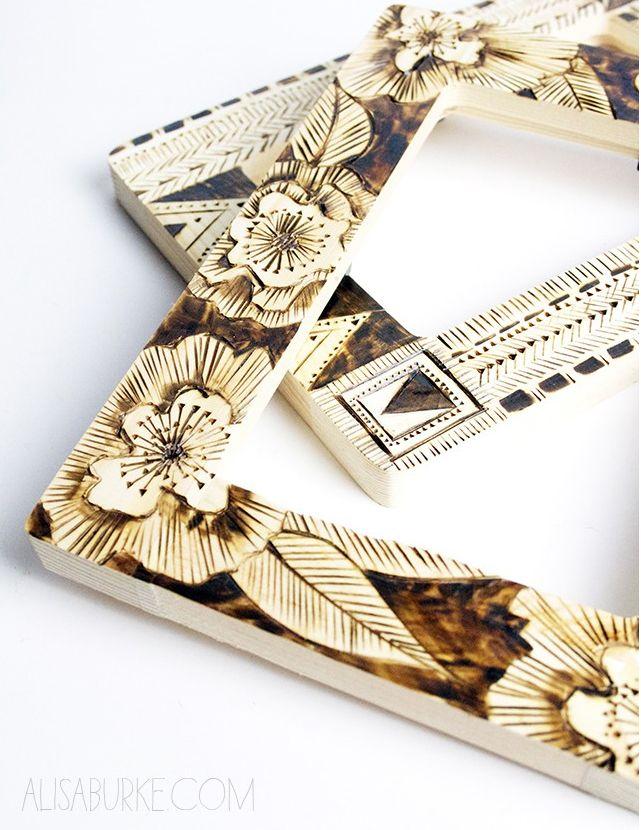 alisaburke: altered picture frames- burned patterns
