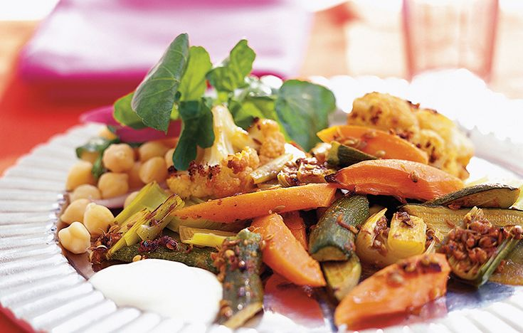 Moroccan-spiced roast vegetables with watercress salad. Follow link for full recipe from appetite, North East England's dedicated food & drink publication.