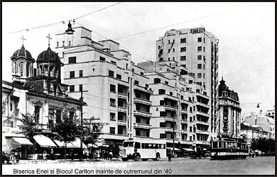 Front B-dul I.C. Bratianu (acum cunoscut ca Magheru) cu Biserica Enei(actualmente demolata) si Blocul Carlton(s-a prabusit la cutremurul din 1940 ).