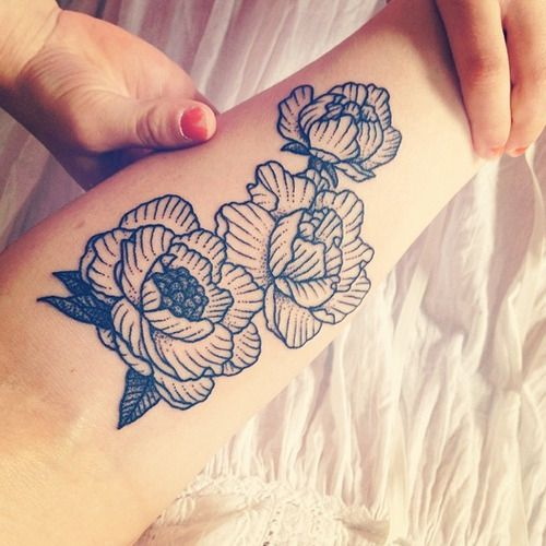 Peonies Tattoo by Encre Mecanique