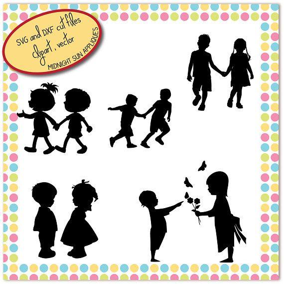 Kids silhouettes SVGDXFclipart kid svg child svg children