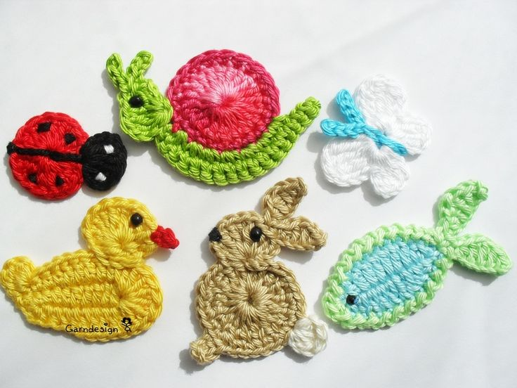 Crochet ladybug, duck, bunny rabbit, fish, snail, and butterfly appliques