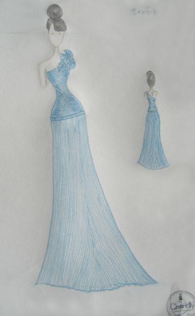 Vestido de corte asim trico y falda plisada adorno de for Disenos de faldas