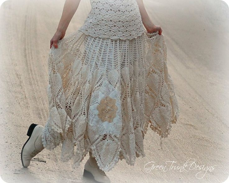 Long Lace Skirt Shabby Mori Girl Clothing by GreenTrunkDesigns, $95.00