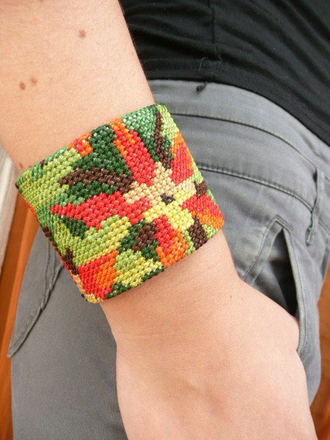 Anna cuff french OOAK needlepoint vintage fabric by mariearnoux, $29.00