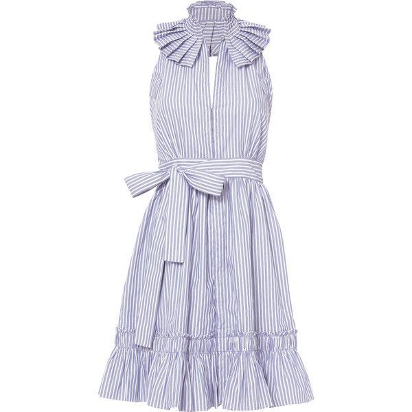 Briley Stripe Mini Halter Dress found on Polyvore featuring dresses, haljine, pattern, v neck dress, v neck short dress, v neckline dress, short halter dress and striped dress
